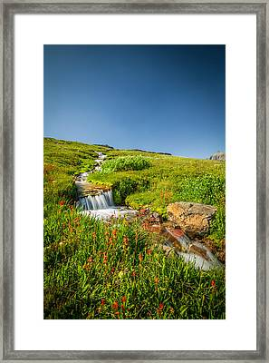 Waterfall Triple Falls Glacier National Park  Framed Print