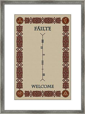Welcome Written In Ogham Framed Print by Ireland Calling