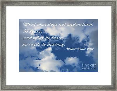 What Man Does Not Understand Framed Print by Barbara Griffin