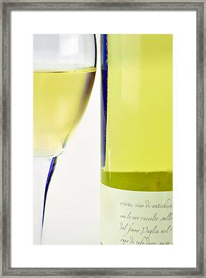 White Wine And Glass Framed Print by Tommytechno Sweden