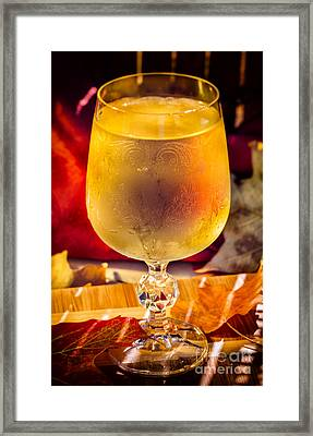 White Wine In Vintage Glass Framed Print by Iris Richardson