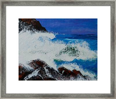 Framed Print featuring the painting Wild Sea by Judi Goodwin