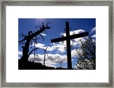 Wind Turbine And Cross Framed Print by Bernard Jaubert
