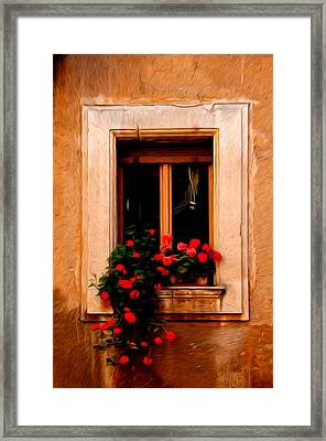 Window And Flowers Rome Italy  Framed Print by Xavier Cardell