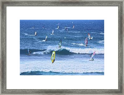 Windsurfers On Maui Framed Print by Diane Diederich