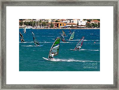 Windsurfing In Vasiliki Bay Framed Print