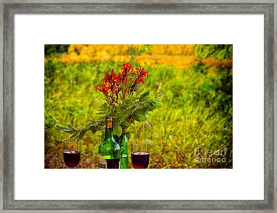 Wine And Flowers Framed Print by Les Palenik