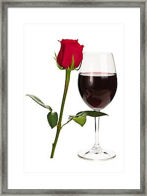 Wine With Red Rose Framed Print by Elena Elisseeva