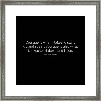 Winston Churchill Quote Framed Print by Famous Quotes