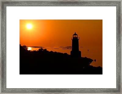 Winter Island Lighthouse Sunrise Framed Print