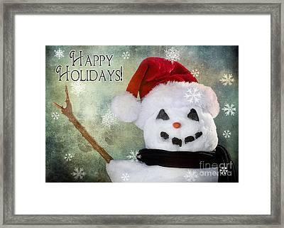 Winter Snowman Framed Print by Cindy Singleton