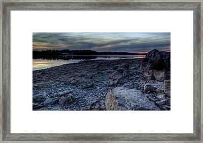 Winter Sunset On The Lake Framed Print