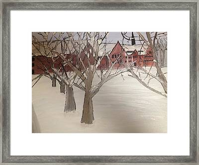Framed Print featuring the painting Winter University by Paula Brown