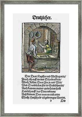 Wiredrawer, 1568 Framed Print by Granger