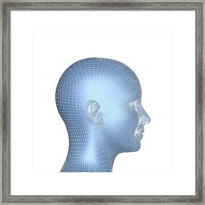 Wireframe Head Framed Print by Alfred Pasieka