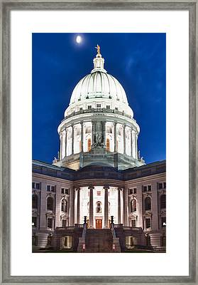 Wisconsin State Capitol Building At Night Framed Print
