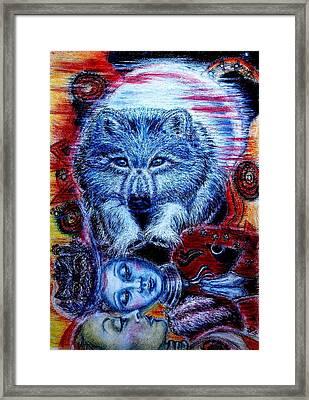 Wolf Dream Framed Print by Elizabeth Clausen