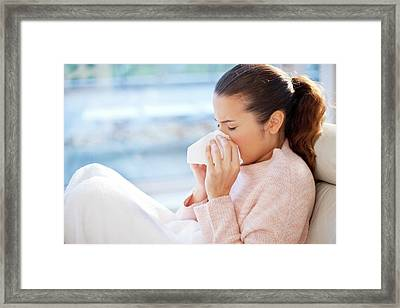 Woman Blowing Her Nose Framed Print