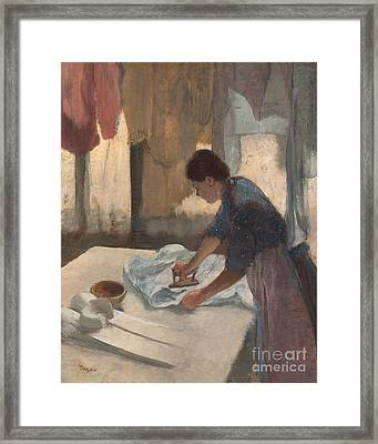Woman Ironing Framed Print by Edgar Degas