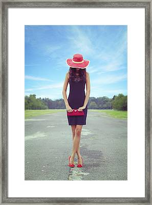 Woman On Street Framed Print