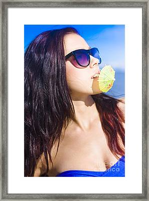 Woman On Vacation Framed Print by Jorgo Photography - Wall Art Gallery