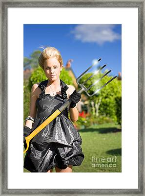 Woman With Pitchfork Framed Print by Jorgo Photography - Wall Art Gallery