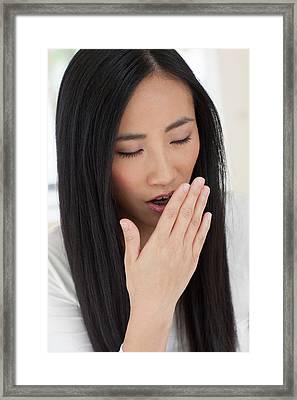 Woman Yawning Framed Print by Ian Hooton