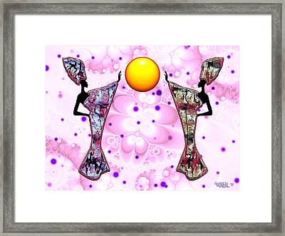 2 Women And The Sun - V. 1 Framed Print by Walter Oliver Neal