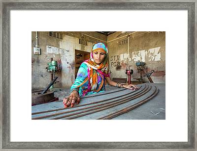 Women Constructing Solar Cookers Framed Print