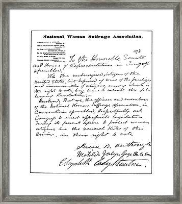 Women's Rights Movement Framed Print