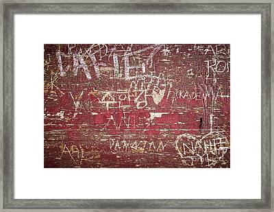 Wood Graffiti Framed Print