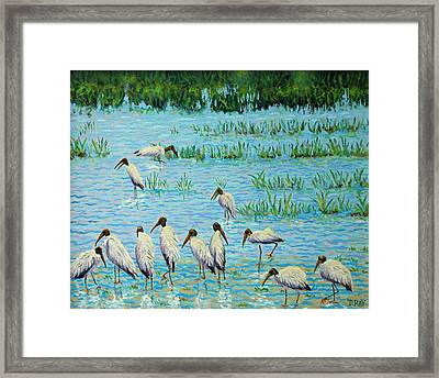 Wood Stork Discussion Group Framed Print