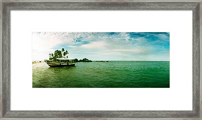 Wooden Boat Moored On The Beach, Morro Framed Print