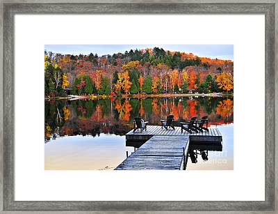 Wooden Dock On Autumn Lake Framed Print by Elena Elisseeva