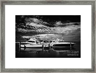 Wooden Jetty And Sports Boats Islamorada Florida Keys Usa Framed Print by Joe Fox