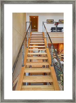 Wooden Staircase Framed Print by Will Austin