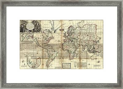 World Map Framed Print by Library Of Congress, Geography And Map Division