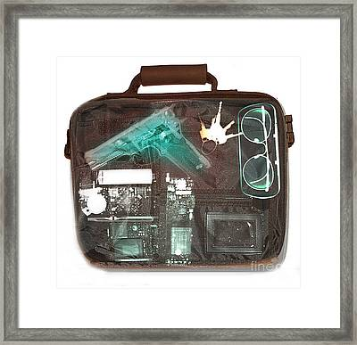 X-ray Of A Briefcase With A Gun Framed Print by Scott Camazine