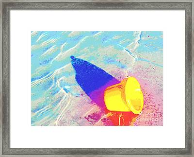 Framed Print featuring the digital art Yellow Pail by Valerie Reeves