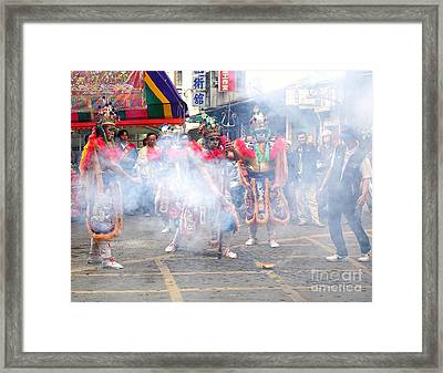 Young Men Dressed Up As Ancient Warriors Framed Print by Yali Shi