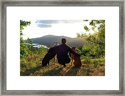 Young Woman With Her Dogs At Sunset Framed Print