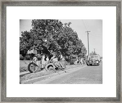 Youngsters Help Load A Truck With Scrap Framed Print