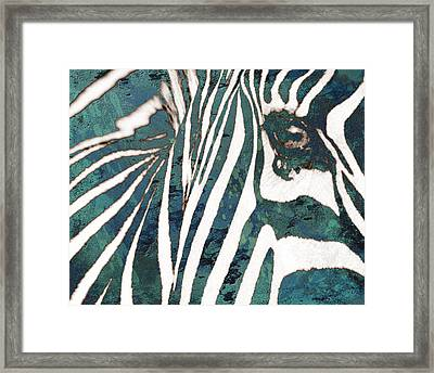 Zebra Art Stylised Drawing Art Poster Framed Print by Kim Wang