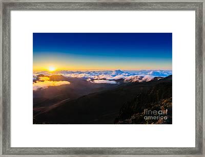 Clouds At Sunrise Over Haleakala Crater Maui Hawaii Usa Framed Print