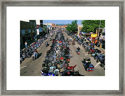 2000s Motorcycle Rally In Sturgis South Framed Print
