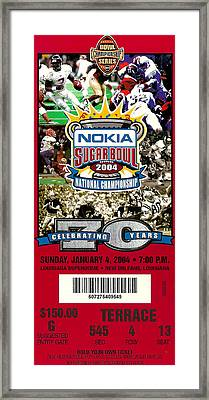 2004 National Championship Ticket - Lsu Vs Oklahoma Framed Print by David Patterson