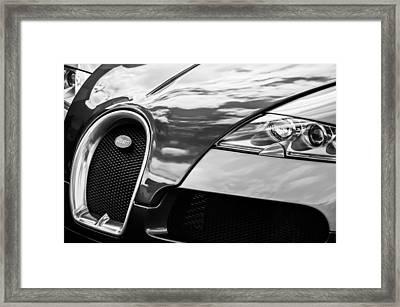 2008 Bugatti Veyron Grille Emblem -0621bw Framed Print by Jill Reger