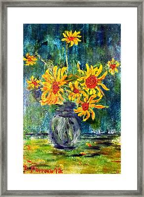 2012 Sunflowers 4 Framed Print by Denny Morreale