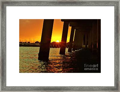 2013 First Sunset Under North Bridge 2 Framed Print by Lynda Dawson-Youngclaus