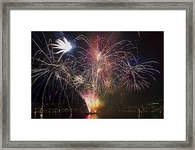 2013 Independence Day Fireworks Display On Portland Oregon Water Framed Print by David Gn